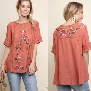 CHRIS Embroidered Top - CLAY
